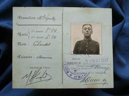 Carte D'identité D'élève (Claudot Maurice) école Spéciale Militaire Saint Cyr Promotion 1935-1937 L558 - Non Classés