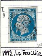 FRANCE Classique: Le Y&T 14A Obl. PC 1272 (La Feuillie, Ind.8), SEINE INFERIEURE - 1853-1860 Napoleon III