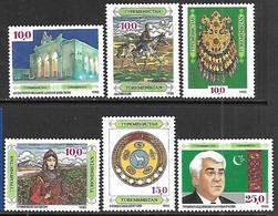 Turkmenistan   1992  Sc#2-7 MNH  2016 Scott Value $4.70 - Turkmenistan
