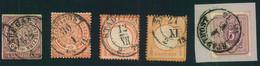 """1868/1875, 5 Marken NDP, Brustschild, Pfennige Mit """"STADTPOST""""-Stempeln Von Dresden - Saxe"""