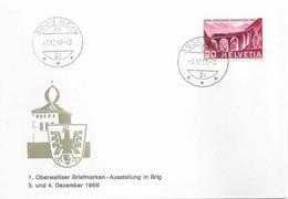 """Sonderbrief  """"Oberwalliser Briefmarken Ausstellung, Brig""""           1966 - Covers & Documents"""
