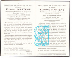 DP Wachtmeester Rijkswacht - Edmond Martens ° Mater Oudenaarde 1886 † Moeskroen Mouscron 1961 X A Lenoir / Veys Platteau - Images Religieuses