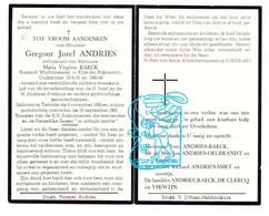 DP Wachtmeester 1e Klas Rijkswacht - Gregoor Andries ° Tielrode Temse 1885 † 1960 X Maria Baeck / Oelbrandt Smet Ysewijn - Images Religieuses