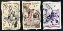 France - République Française - W1/9 - (°)used - 1956 - Michel 1100-1101-1102 - Sport - Usati