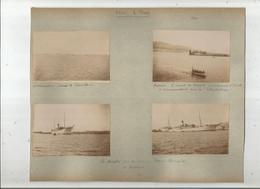 """BATEAU  LE """"MENPHI""""  ENSEMBLE DE 4 PHOTOS TIREES D'UN ALBUM DE 1903  (VUES A ALEXANDRIE EGYPTE ET MESSINE ITALIE) - Bateaux"""