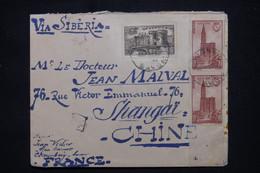 FRANCE - Enveloppe Commerciale De Joigny Pour Shanghai En 1939 Par Voie De Sibérie Avec Vignette Au Dos  - L 102170 - 1921-1960: Modern Tijdperk
