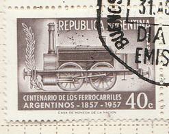 PIA - ARGENTINA - 1957 : Centenario Delle Ferrovie Argentine - (Yv 577 ) - Gebruikt