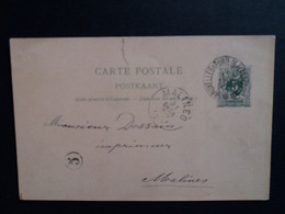 Belgique  Oblitération  Bruxelles Porte De Flandre Sur EP N°19IA  Dechirure En Haut - Cartoline [1871-09]