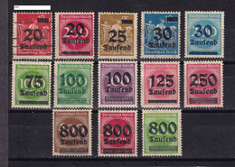 Germany Weimar, 1923- Definitive. Overprinted. 13 Stamps Mostly New. Trace Of Hinge. - Nuevos