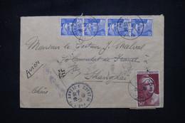 FRANCE - Enveloppe De Paris Pour Shanghai En 1946 , Affranchissement Gandons 10f X4 + 50f , Vignettes Au Dos - L 102178 - 1921-1960: Modern Tijdperk