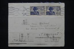 FRANCE - Enveloppe De Dijon Pour Shanghai En 1945, Affranchissement Louis XI En Paire - L 102180 - 1921-1960: Modern Tijdperk