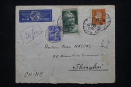 FRANCE - Enveloppe De Dijon Pour Shanghai En 1946, Affranchissement Gandon 20f / Iris 4f  Et Dulac 20f - L 102183 - 1921-1960: Modern Tijdperk