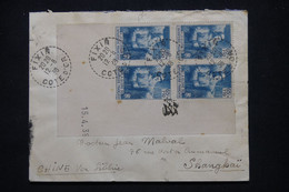 FRANCE - Enveloppe De Fixin Pour Shanghai En 1939, Affranchissement Infanterie Bloc De 4 Coin Daté - L 102187 - 1921-1960: Modern Tijdperk