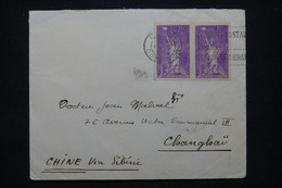 FRANCE - Enveloppe De Dijon Pour Shanghai En 1936, Affranchissement Statue De La Liberté En Paire - L 102189 - 1921-1960: Modern Tijdperk