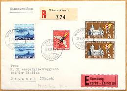 Schweiz Suisse 1955: Zu 320+WI106+WII75 Mi 607+617+620 Yv 558+566+569 Auf Eil-R-Brief Mit Stempel WINTERTHUR 29.XII.55 - Covers & Documents