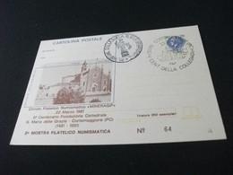 CARTOLINA POSTALE  L. 120 2° MOSTRA FILATELICO NUMISMATICA 500° FONDAZIONE CATTEDRALE S MARIA DELLE GRAZIE CORTEMAGGIORE - Piacenza