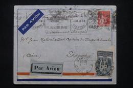 FRANCE - Enveloppe De Dijon Pour Shanghai En 1933 Par Avion, Affranchissement Cathédrale De Reims + Paix - L 102193 - 1921-1960: Modern Tijdperk