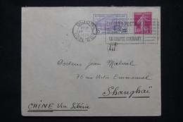 FRANCE - Enveloppe De Dijon Pour Shanghai En 1938 Par Voie De Sibérie, Affranchissement Orphelin + Semeuse - L 102196 - 1921-1960: Modern Tijdperk