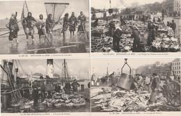 4 CPA:BOULOGNE SUR MER (62) PÊCHEUSES DE CREVETTES,ARRIVÉE POISSON,TRIAGE POISSON,LAVAGE DU POISSON - Boulogne Sur Mer