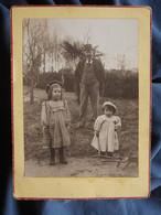 Photo Cabinet  Demarquette Madeleine Et Maurice Avec Leur Père Dans Un Jardin  CA 1895-1900- L558 - Oud (voor 1900)