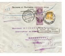 239REF/TP 198(2)-205 Albert Houyoux S/L.Entête Sucrerie Raffinierie Routsschouk C.BXL 1928 > Hollande Retour - Storia Postale