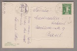 CH Tellknabe 1917-12-31 Basel AK Mit 5Rp. Tellknabe Typ III Abart Weisser Punkt Im Kreis Unter Apfel - Covers & Documents