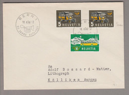 CH 1956-06-18 Bern1 50 Jahre Alpenpost Zu#324 Mit Abart Retouche - Covers & Documents