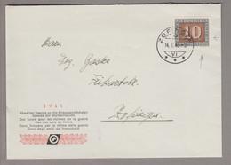 "CH 1945-05-14 Zofingen Ortsbrief Mit 10 Rp. Pax Mit Abart Weisser Fleck An ""0"" - Covers & Documents"