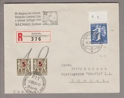 CH Landi 1939-08-04 Automobilpost R-Brief Taxiert Postlagernd Mit Zu#235.2.04  Abart Heller Fleck - Covers & Documents