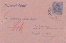 DR Rohrpost-Brief Ganzsache RU 8 Berlin 17.2.19 Gel. Nach Schöneberg - Cartas
