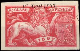 ESPAGNE / SPAIN / ESPAÑA Fiscales ANO 1897 Pólizas Sello 6° 10 Ptas Rosa Rojo - Usado - Muy Bonito Y Raro - Fiscale Zegels