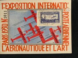"""1930- P.A. N° 6 C -Perforé EIPA30 Signé (?)Sur Carte N° 1011 Grand Cad 3 Vignettes Au Dos Non Voyagé TB """"PARIS 8.11.30 """" - 1927-1959 Brieven & Documenten"""