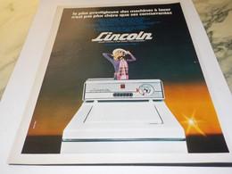 ANCIENNE PUBLICITE MACHINE A LAVER LINCOLN 1970 - Other