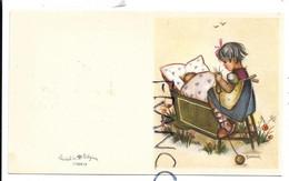 Bébé Dans Son Berceau, Petite Fille Tricote. Signée Bonnie - Naissance & Baptême