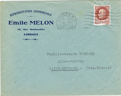 ENVELOPPE  A EN-TETE REPRESENTATION COMMERCIALE EMILE MELON LIMOGES - 1921-1960: Modern Tijdperk