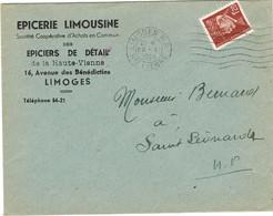 ENVELOPPE  A EN-TETE EPICERIE LIMOUSINE LIMOGES - 1921-1960: Modern Tijdperk