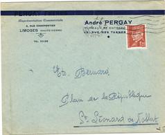 ENVELOPPE  A EN-TETE REPRESENTATION COMMERCIALE PERGAY  LIMOGES - 1921-1960: Modern Tijdperk