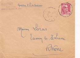 MARIANNE DE GANDON 15F ROUGE / N°813 YVERT ET TELLIER/ 22.06.1951./ CACHET AMBULANT - 1921-1960: Modern Tijdperk