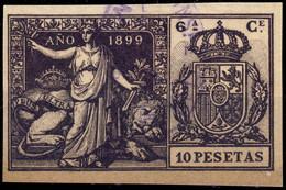 ESPAGNE / SPAIN / ESPAÑA Fiscales ANO 1899 Pólizas Sello 6° 10 Pts Violeta Negro - Usado - Bonito - Fiscale Zegels