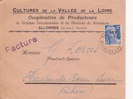 MARIANNE DE GANDON 12F OUTREMER / N°812 YVERT ET TELLIER/ ENVELOPPE PUBLICITAIRE/MAINE ET LOIRE/ 1951 - 1921-1960: Modern Tijdperk