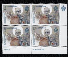 San Marino 2021 80° Anniv.morte Di S.Massimiliano M.Kolbe 1v In Quartina Complete Set  ** MNH - Unused Stamps