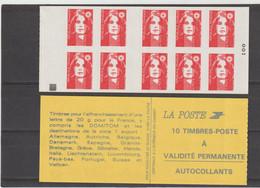 """FRANCE : CARNET Type  """"Marianne De BRIAT """" - TVP -  Rouge N°2874 - Avec Carré Noir - Uso Corrente"""