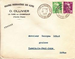 ENVELOPPE TIMBRéE / 16.02.1951 / MARIANNE DE GANDON / 5F VERT-CLAIR ( N° 809 ) + 10F LILAS ( N° 811 ) - 1921-1960: Modern Tijdperk