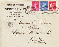 ENVELOPPE TIMBRéE /16/02/1938 / SEMEUSE 5C ROSE ( N° 278B ) + SEMEUSE 10C OUTREMER ( N° 279 ) + TYPE PAIX 50C ROSE-ROUGE - 1921-1960: Modern Tijdperk