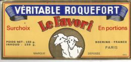 JJ /  ETIQUETTE FROMAGE ROQUEFORT Le Favori EN PORTION ROQUEFORT   BOERING FRANCE - Fromage