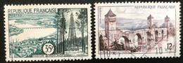 France - République Française - W1/10 - (°)used - 1957 - Michel 1146#1147 - Bordeaux-Cahors - Usati