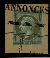 BELLE OBLITÉRATION TYPO Sur Petit Fragment TTB NAPOLÉON DENTELÉ N° 19 1c OLIVE - 1853-1860 Napoleon III