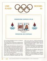 B01-378 Belgique FO - Feuillet D'Or Souvenir FDC - COB 1915 1916 Bloc 53 - 3700 Tongeren - Jeux Olympiques Moiscou 1980 - Herdenkingskaarten