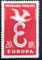 France - République Française - W1/13 - (°)used - 1958 - Michel 1210 - Europa - Letter E En Duif - Usati