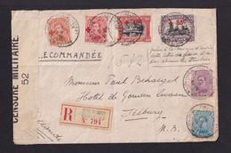 RARE - TP Croix Rouge + Albert Sur Enveloppe Recommandée Postes Militaires 1918 Vers TILBURG NL - Censure 52 - Armada Belga